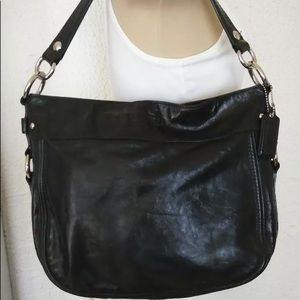 Coach Black Leather Zoe Hobo Crossbody Bag In EUC